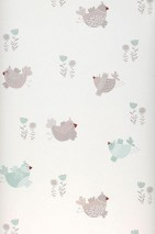 Wallpaper Nagini Matt Flowers Birds Cream Light beige grey Light mint turquoise Red brown