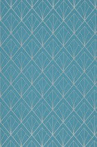 Wallpaper Catriona Shimmering pattern Matt base surface Art Deco Graphic elements Turquoise blue Silver shimmer