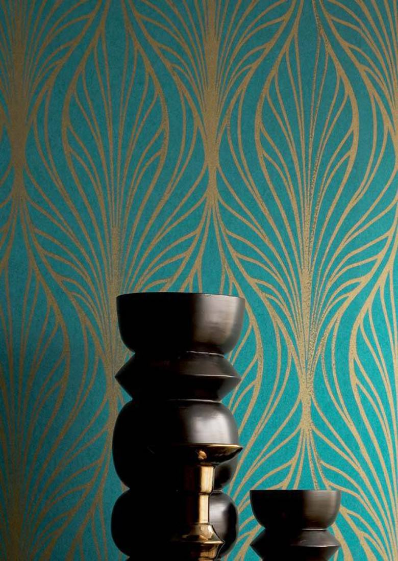 Wallpaper pemba turquoise blue gold wallpaper from for Turquoise chambre