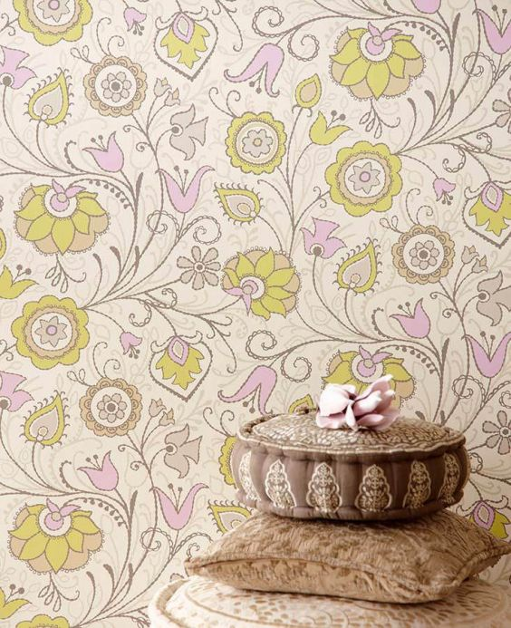 Archiv Wallpaper Flora light yellow green Room View