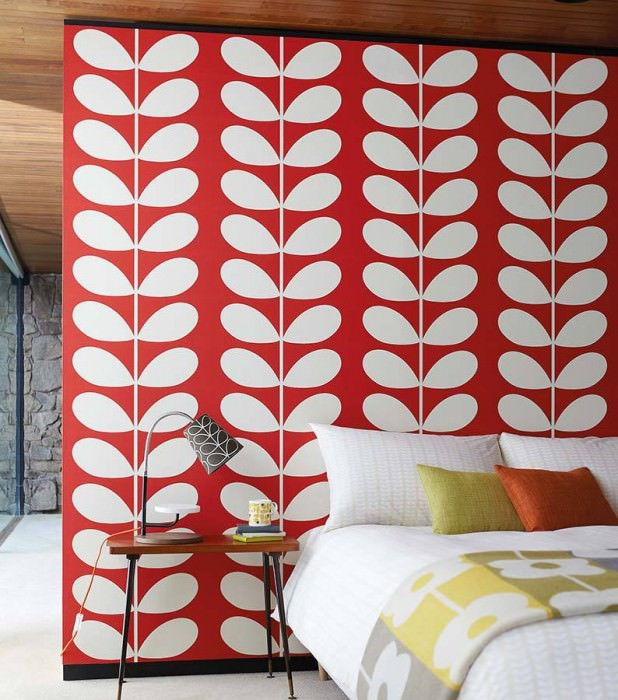 Wallpaper Diana Matt Stylised leaves Red Cream