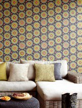 Wallpaper Bragi Matt Stylised blossoms Black grey Brown orange Strawberry red Yellow green Light grey beige