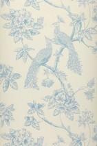Wallpaper Marenka Matt Blossoms Peacocks Branches Cream Light blue