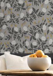 Wallpaper Peonies light grey
