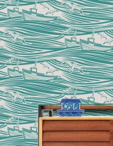 Wallpaper Ulysses Matt Boats Sea gulls Waves Cream Water blue