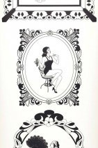 Papel pintado 1920's Glamour Mate Chicas pin-up vintage Blanco Negro