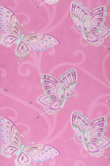 Wallpaper Butterfly Matt Butterflies Heather violet Green Violet White