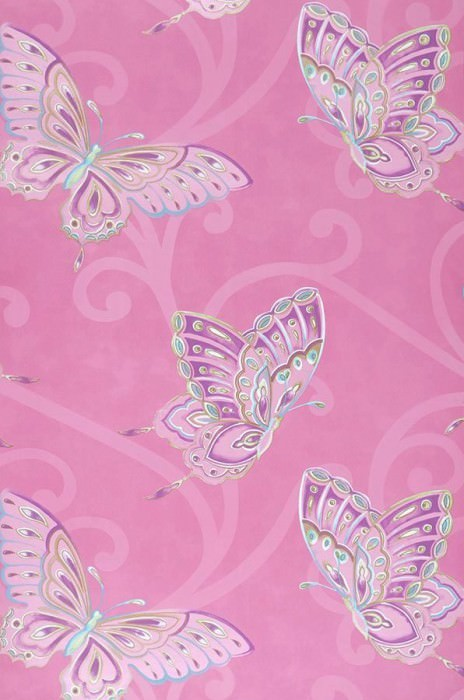 Papel de parede Butterfly Mate Borboletas Violeta urze Verde Branco