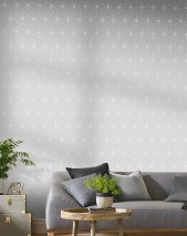 Wallpaper Morton Matt pattern Shimmering base surface Prisms Silver grey White