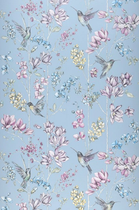 Wallpaper Biala Matt Flower tendrils Hummingbirds Light blue Pale yellow shimmer Blue Shades of green Pastel violet