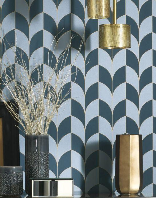 Papel pintado Art Decó Papel pintado Caprice azul verdoso Ver habitación