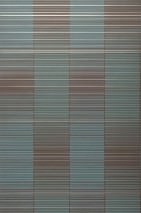 Wallpaper Oshun Matt Stripes Turquoise blue Chocolate brown Silver