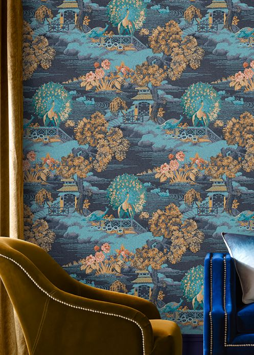 Oriental Wallpaper Wallpaper Surimono water blue Room View