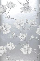 Carta da parati Magnolia grigio chiaro perlato