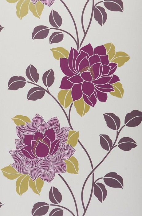 Wallpaper Ismene Matt Flowers Cream Dark violet Yellow green Violet