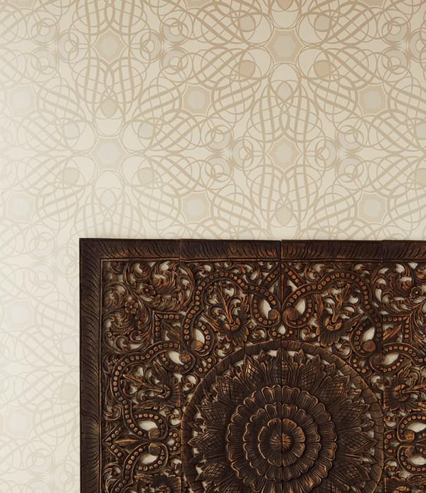 Wallpaper Nilus Shimmering pattern Matt base surface Modern damask Cream Beige Grey white Pearl beige