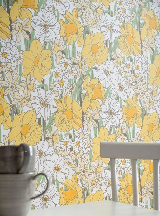 Papier peint floral Papier peint Padme jaune Vue pièce