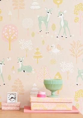 Papel de parede Golden woods rosa pálido Ver quarto