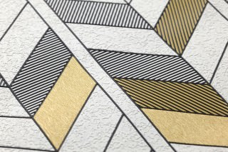 Wallpaper Herringbone by Porsche Matt Geometrical elements White Pearl gold Black