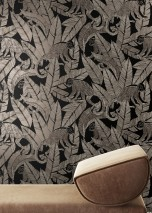 Wallpaper Arlo Shimmering pattern Matt base surface Monkeys Leaves Black Grey white Pearl beige