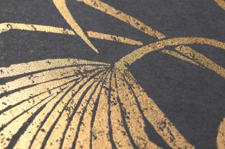 Wallpaper Lorella Shimmering pattern Matt base surface Palm fronds Anthracite grey Gold shimmer