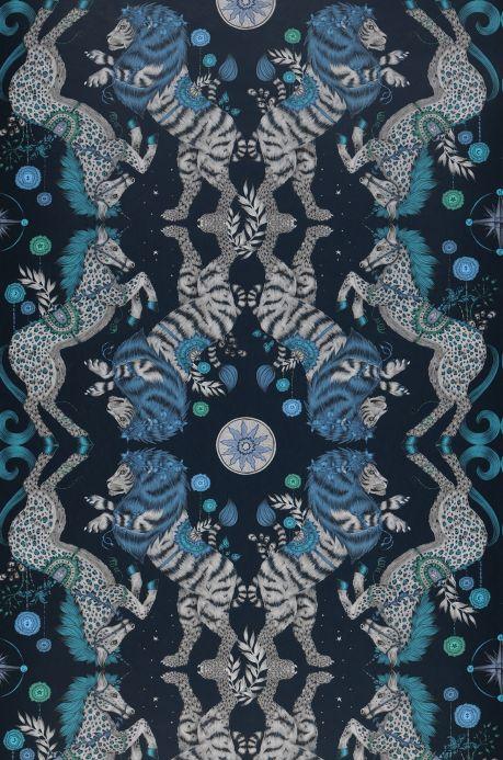 Papel pintado original Papel pintado Caspian azul acero Bahnbreite