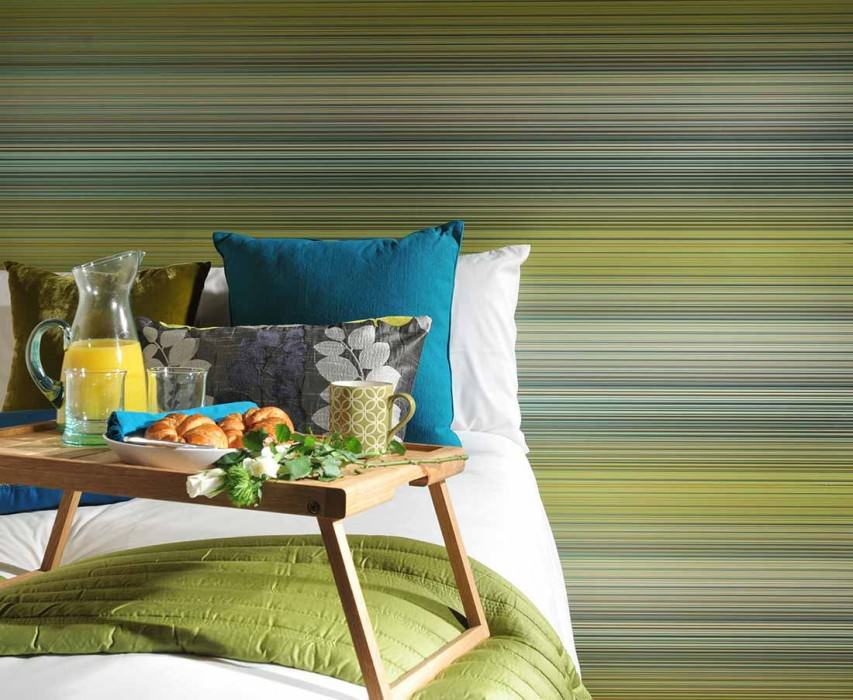 Wallpaper Owen Shimmering Stripes Brown Cream Yellow green Turquoise lustre