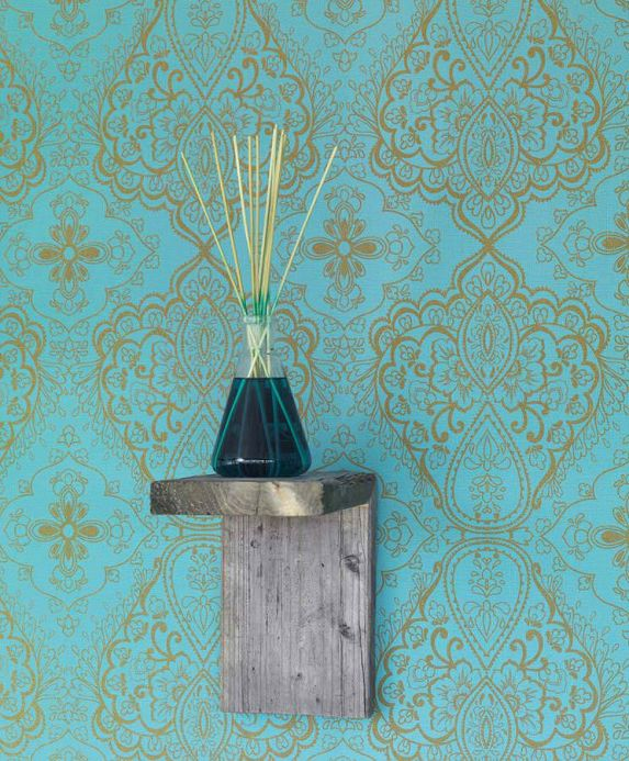 Archiv Wallpaper Rosmerta turquoise blue Room View