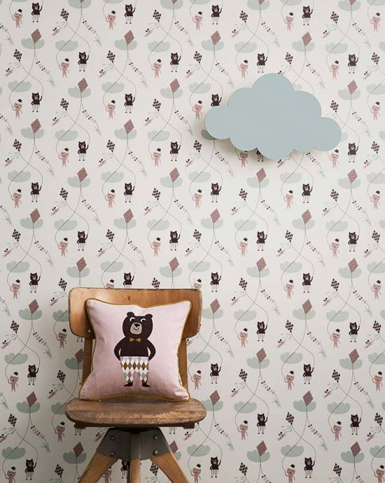 Archiv Wallpaper Kite pastel brown Room View