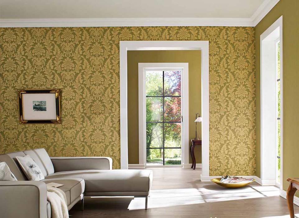 Papel pintado Marunda Mate Efecto textil Damasco barroco Verde amarillento Beige verdoso