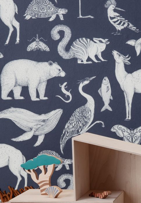 Children's Wallpaper Wallpaper Animal grey blue Room View