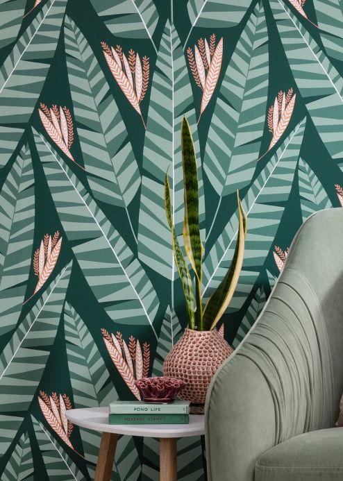 Design Wallpaper Wallpaper Jungle mint turquoise Room View