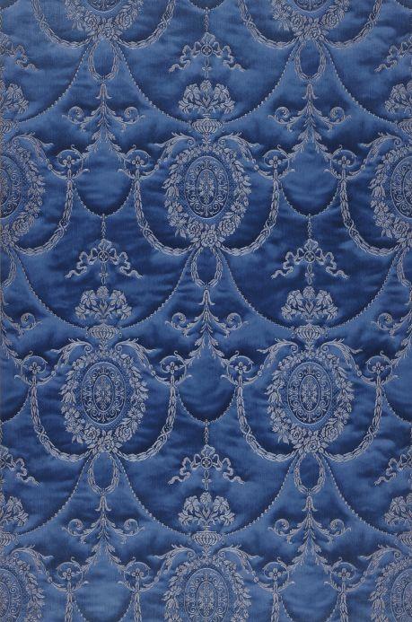 Papel de parede damasco Papel de parede Rabia azul aço Largura do rolo