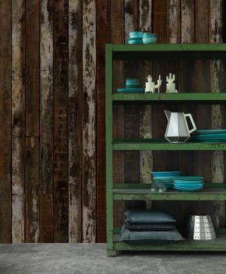 Papel pintado Scrapwood 17 marrón Ver habitación
