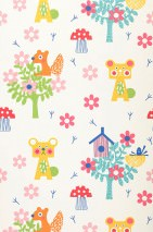 Wallpaper Pepko Matt Trees Blossoms Animals Birdhouses Cream Antique pink Yellow green Golden yellow Turquoise blue