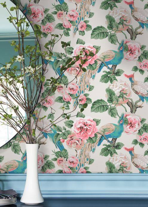 Floral Wallpaper Wallpaper Abelia pale green Room View