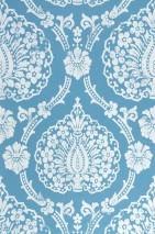 Wallpaper Fidelia Matt Baroque damask Blue White