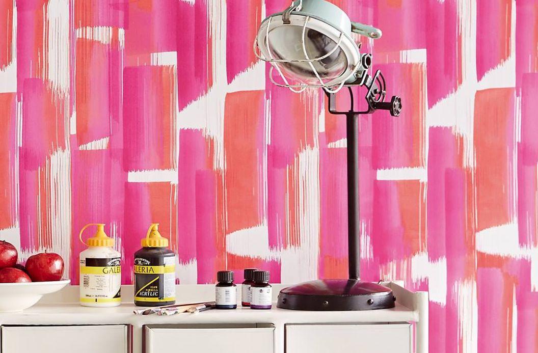 Papier peint à rayures Papier peint Pandero rose vif Vue pièce