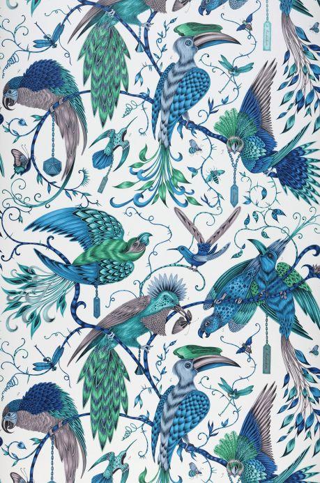 Papier peint avec des animaux Papier peint Audubon bleu turquoise Largeur de lé