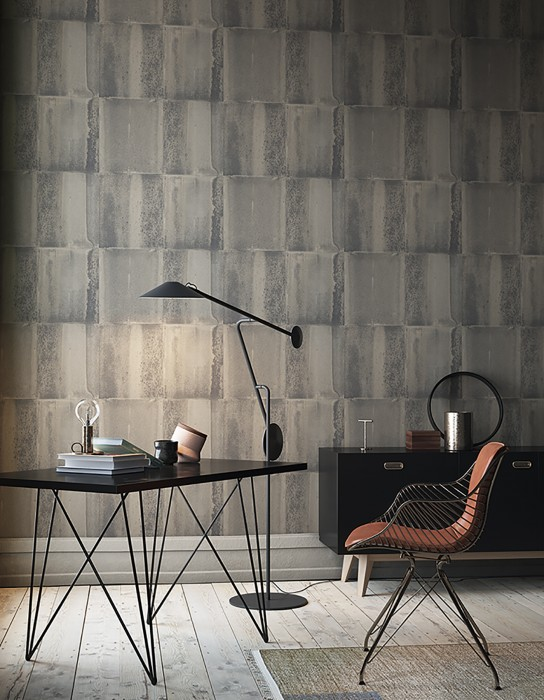 Wallpaper Runar Matt Shabby chic Metal imitation Grey tones
