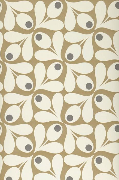 Wallpaper Loki Matt Stylised flowers Khaki Dark grey Oyster white