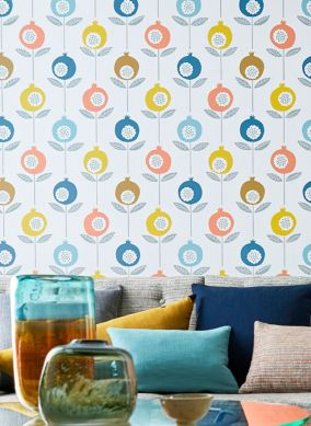 Wallpaper Nella blue Room View
