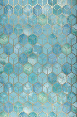 Papier peint Casimir turquoise pastel Largeur de lé
