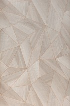 Wallpaper Zoras Shimmering pattern Matt base surface Triangles Graphic elements Grey beige Pearlescent orange