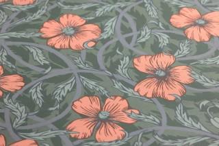 Papel pintado Esmeralda Mate Hojas Flores Damasco floral Zarcillos Verde oliva claro Verde pastel Rosa Azul pichón Verde abeto
