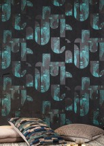 Wallpaper Orest Shimmering pattern Matt base surface African style Graphic elements Anthracite Black grey Grey Black shimmer Turquoise blue shimmer