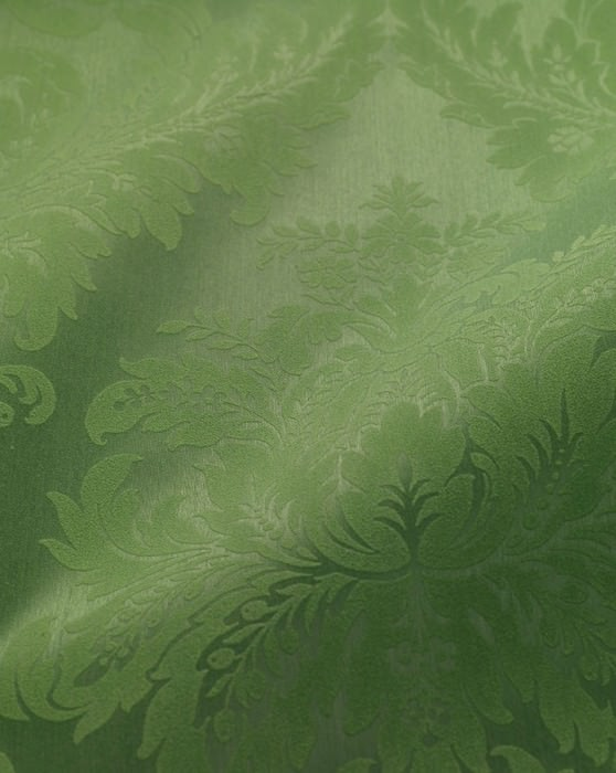 Wallpaper Odilia Matt pattern Shimmering base surface Baroque damask Pea green Pastel green
