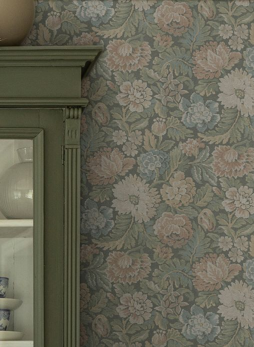 Floral Wallpaper Wallpaper Isola shades of green Room View