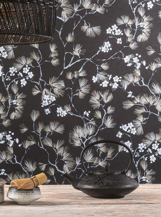 Papel pintado oriental Papel pintado Makino tonos de gris Ver habitación