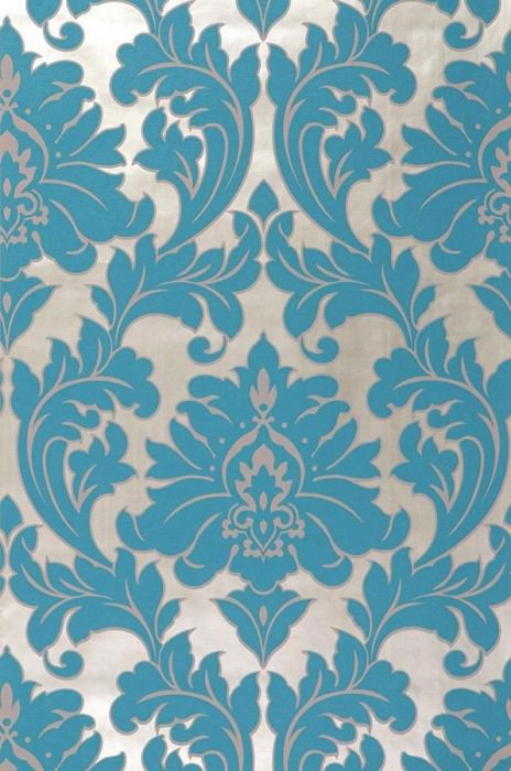 Wallpaper Samanta Matt pattern Shimmering base surface Baroque damask White gold Turquoise blue
